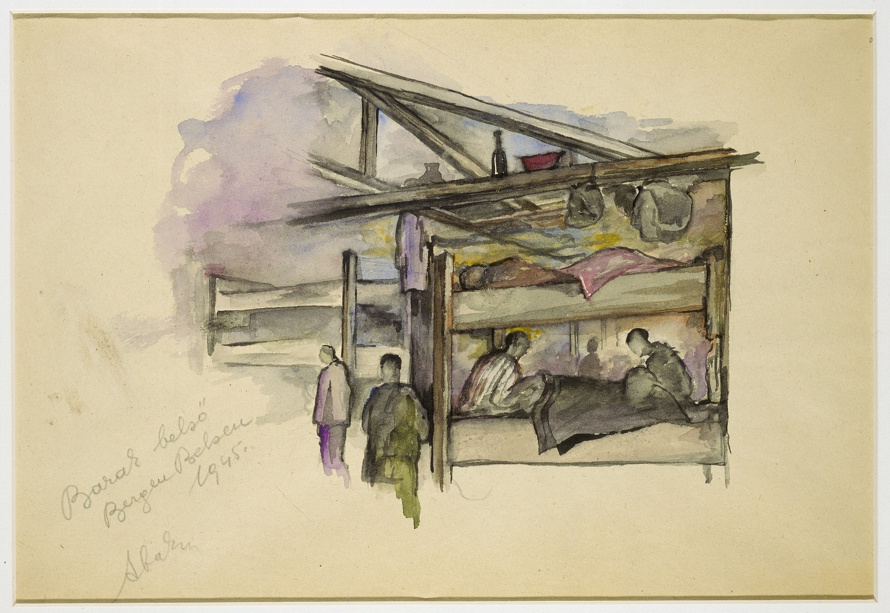 Holocaust art by Ervin Abadi. Watercolor and pencil drawing.  Ervin Abadi, a Hungarian Jew from Budapest, was an aspiring young artist when WWII began.  He was drafted into the Hungarian labor service in the early 1940s.  Abadi managed to escape, but  was recaptured and immediately deported to Bergen-Belsen.  When the camp was liberated, his condition was such that he required extended hospitalization.  During his convalescence, he created dozens of works of holocaust art, including ink drawings, pencil and ink sketches and  watercolors. After recuperating Abadi returned to Budapest, where he published a collection of his watercolors in 1946.  After becoming disillusioned with the communist regime in Hungary, he moved to Israel, where he continued to publish in Hungarian and Hebrew.  He died in Israel in 1980.