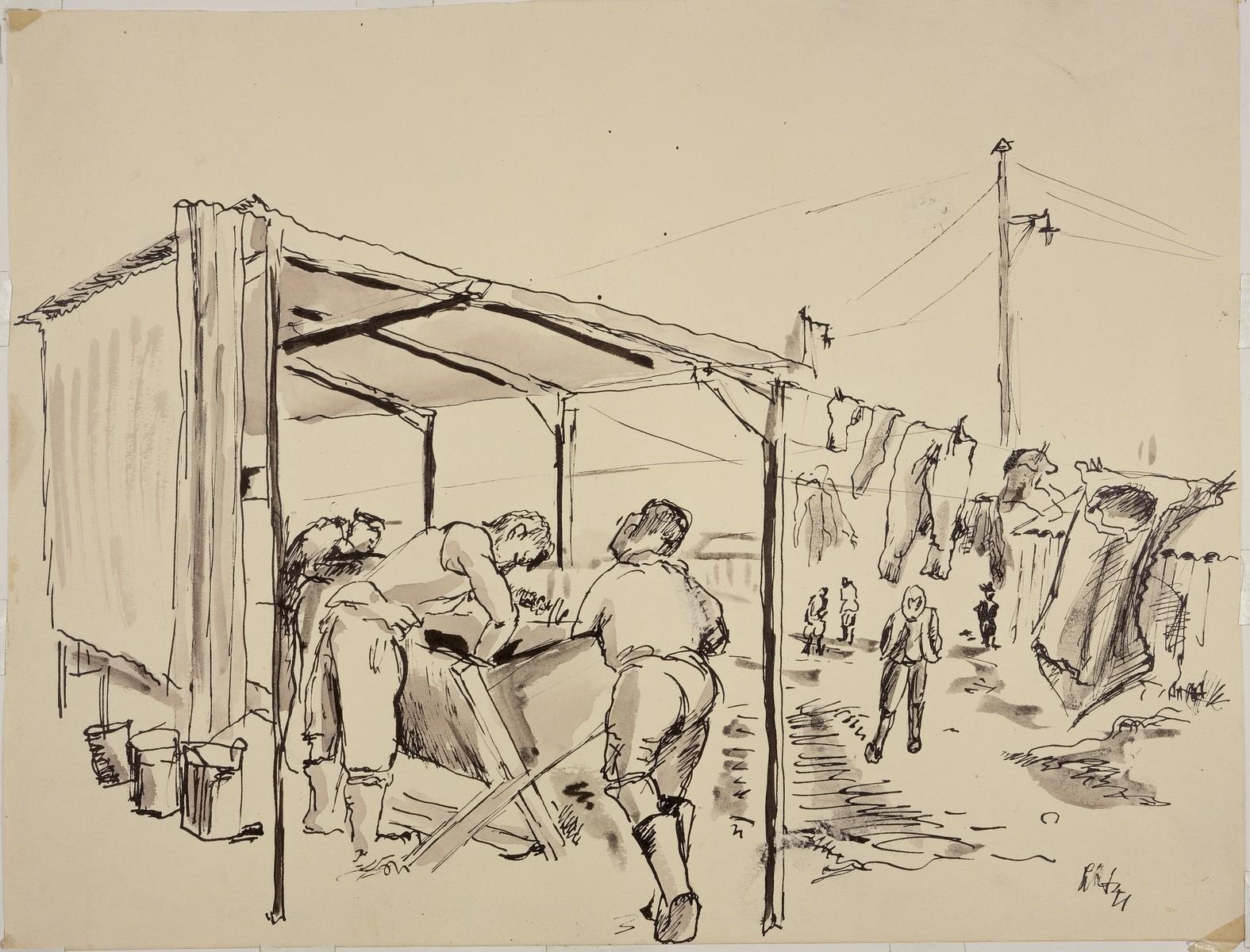 """""""Femmes internees au lavoir a Gurs"""" by Lili Andrieux."""