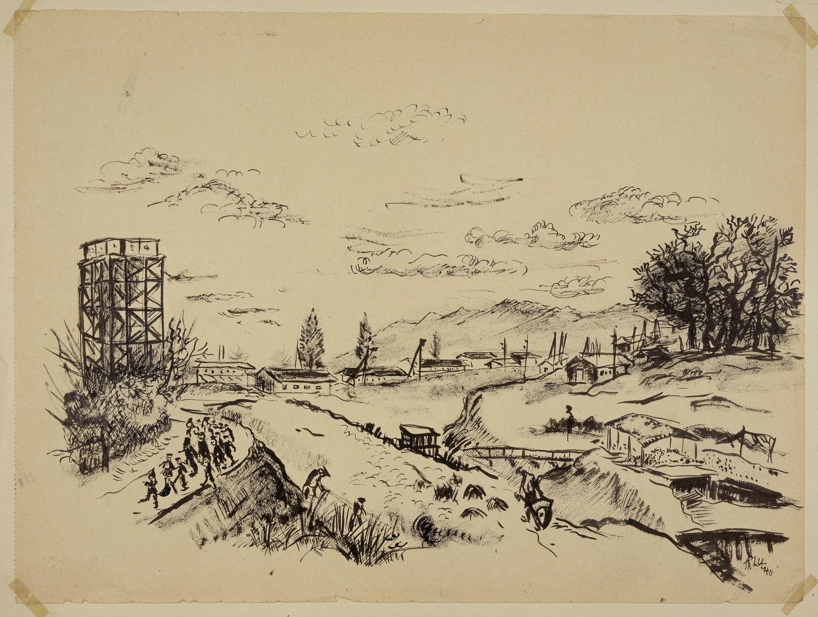"""""""View of Camp de Gurs with Road to Cemetery"""" by Lili Andrieux."""