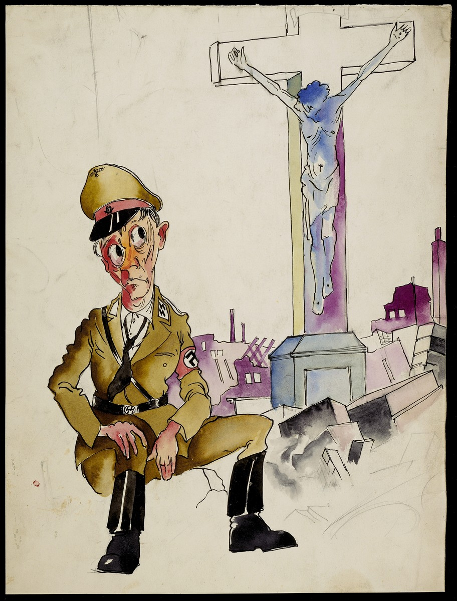 Holocaust art by Ervin Abadi. Watercolor and ink drawing.  Ervin Abadi, a Hungarian Jew from Budapest, was an aspiring young artist when WWII began.  He was drafted into the Hungarian labor service in the early 1940s.  Abadi managed to escape, but  was recaptured and immediately deported to Bergen-Belsen.  When the camp was liberated, his condition was such that he required extended hospitalization.  During his convalescence, he created dozens of works of holocaust art, including ink drawings, pencil and ink sketches and  watercolors. After recuperating Abadi returned to Budapest, where he published a collection of his watercolors in 1946.  After becoming disillusioned with the communist regime in Hungary, he moved to Israel, where he continued to publish in Hungarian and Hebrew.  He died in Israel in 1980.