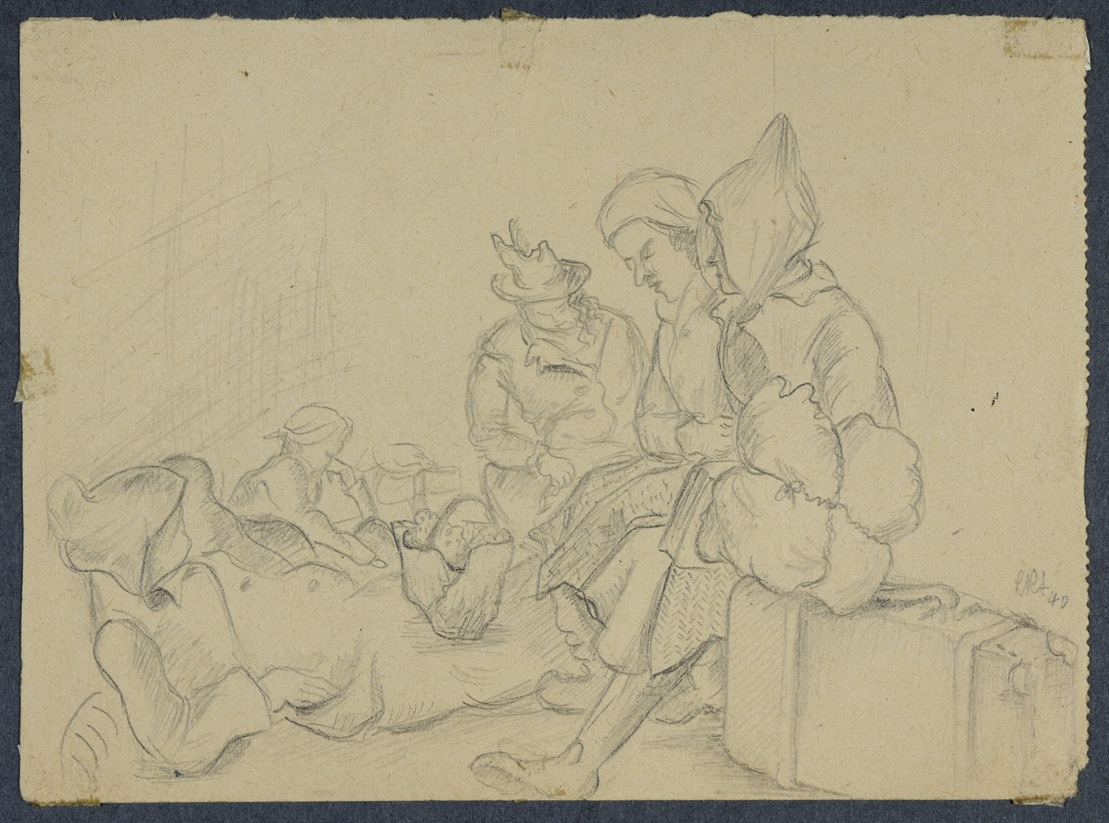 """Waiting for Deportation (VersionII)"" by Lili Andrieux.  Sketch of women sitting on suitcases and on the ground with bags and a basket."
