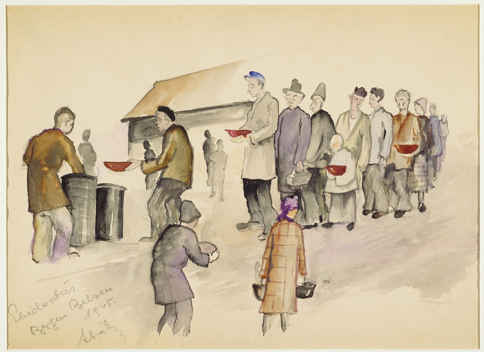"""Distributing Lunch"" by Ervin Abadi. Watercolor, ink and graphite colored pencil drawing.  Ervin Abadi, a Hungarian Jew from Budapest, was an aspiring young artist when WWII began.  He was drafted into the Hungarian labor service in the early 1940s.  Abadi managed to escape, but  was recaptured and immediately deported to Bergen-Belsen.  When the camp was liberated, his condition was such that he required extended hospitalization.  During his convalescence, he created dozens of works of holocaust art, including ink drawings, pencil and ink sketches and  watercolors. After recuperating Abadi returned to Budapest, where he published a collection of his watercolors in 1946.  After becoming disillusioned with the communist regime in Hungary, he moved to Israel, where he continued to publish in Hungarian and Hebrew.  He died in Israel in 1980."