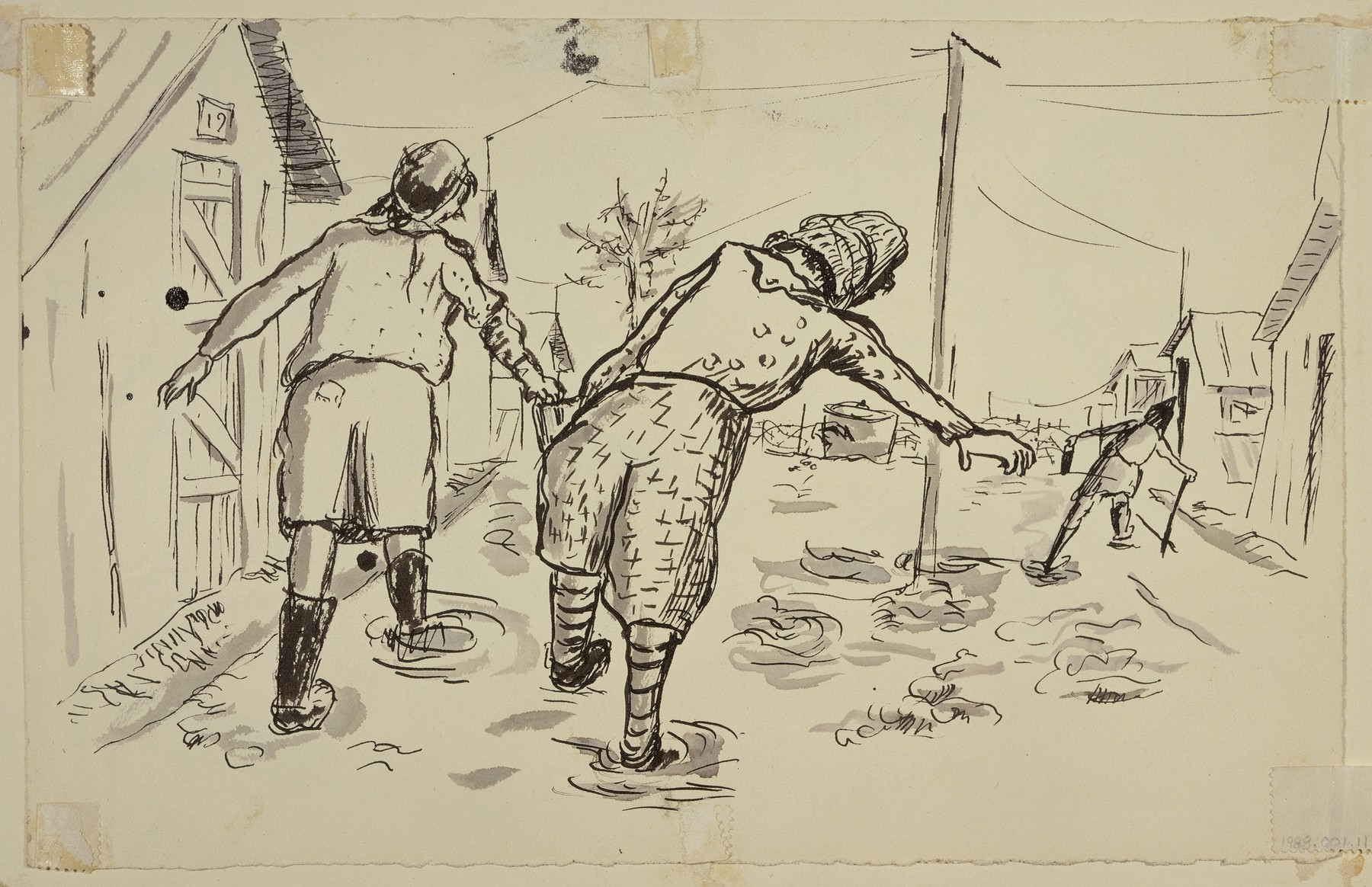 """The Escape to Liberty"" by Lili Andrieux.  Sketch of two figures walking down the street, and third figure In the distance, walking with cane."
