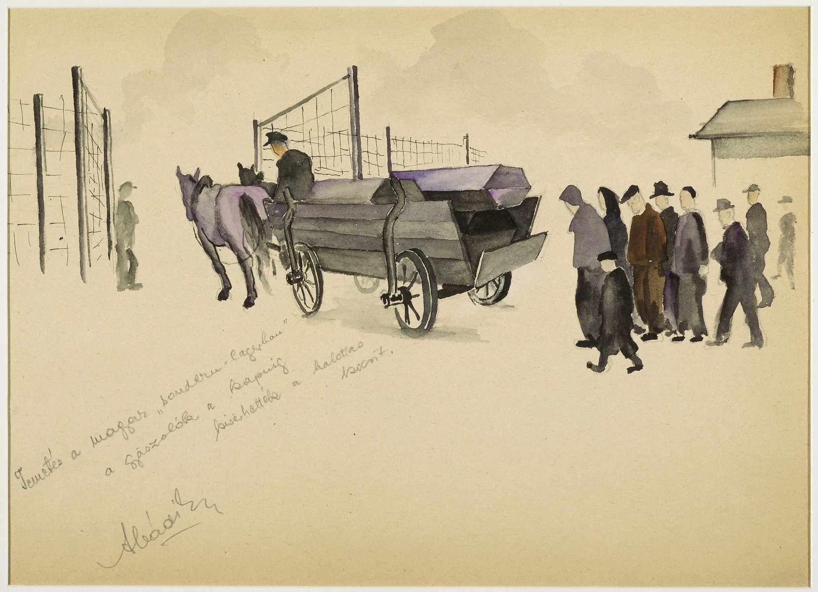 """Funeral in the Hungarian Sondern (Special-Lager- The Mourners were permitted to escort  the Hearse to the Gate"" by Ervin Abadi. Watercolor and pencil drawing.  Ervin Abadi, a Hungarian Jew from Budapest, was an aspiring young artist when WWII began.  He was drafted into the Hungarian labor service in the early 1940s.  Abadi managed to escape, but  was recaptured and immediately deported to Bergen-Belsen.  When the camp was liberated, his condition was such that he required extended hospitalization.  During his convalescence, he created dozens of works of holocaust art, including ink drawings, pencil and ink sketches and  watercolors. After recuperating Abadi returned to Budapest, where he published a collection of his watercolors in 1946.  After becoming disillusioned with the communist regime in Hungary, he moved to Israel, where he continued to publish in Hungarian and Hebrew.  He died in Israel in 1980."