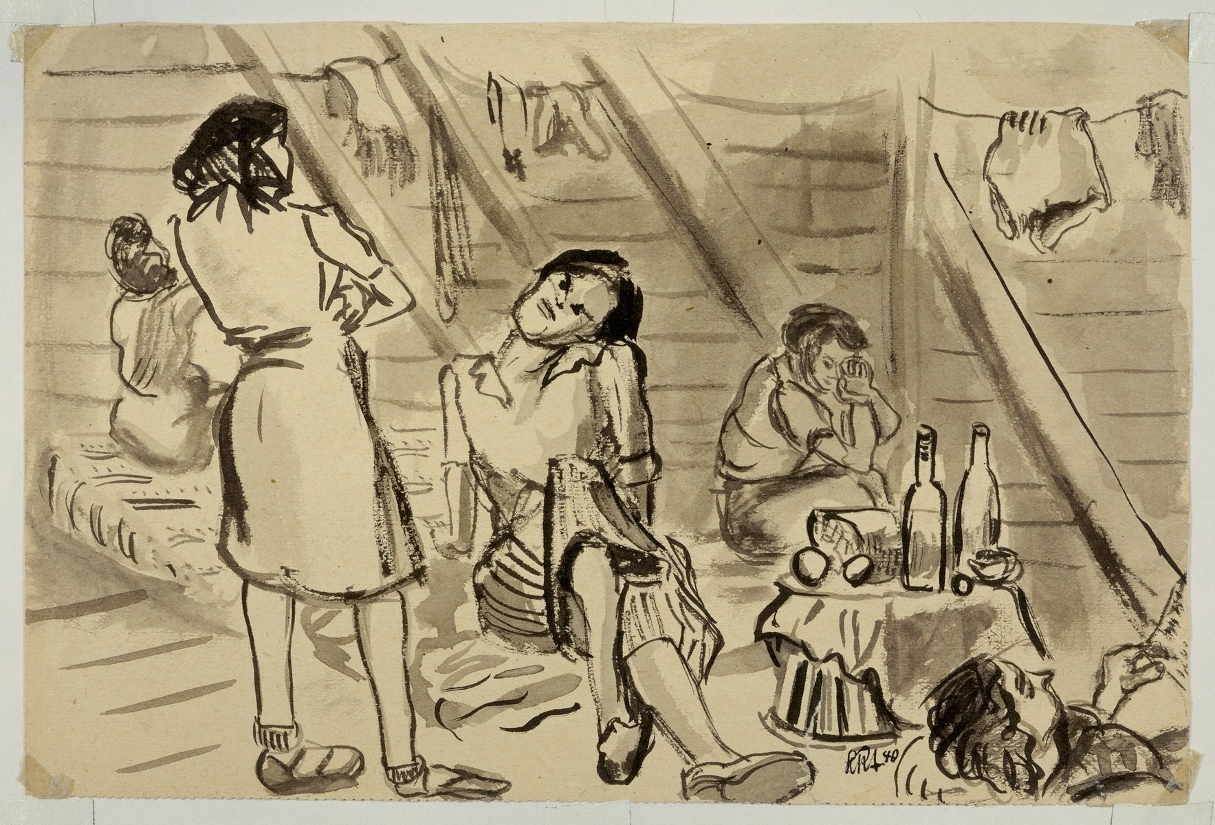 Sketch of a women's barracks in Gurs by Lili Andrieux.