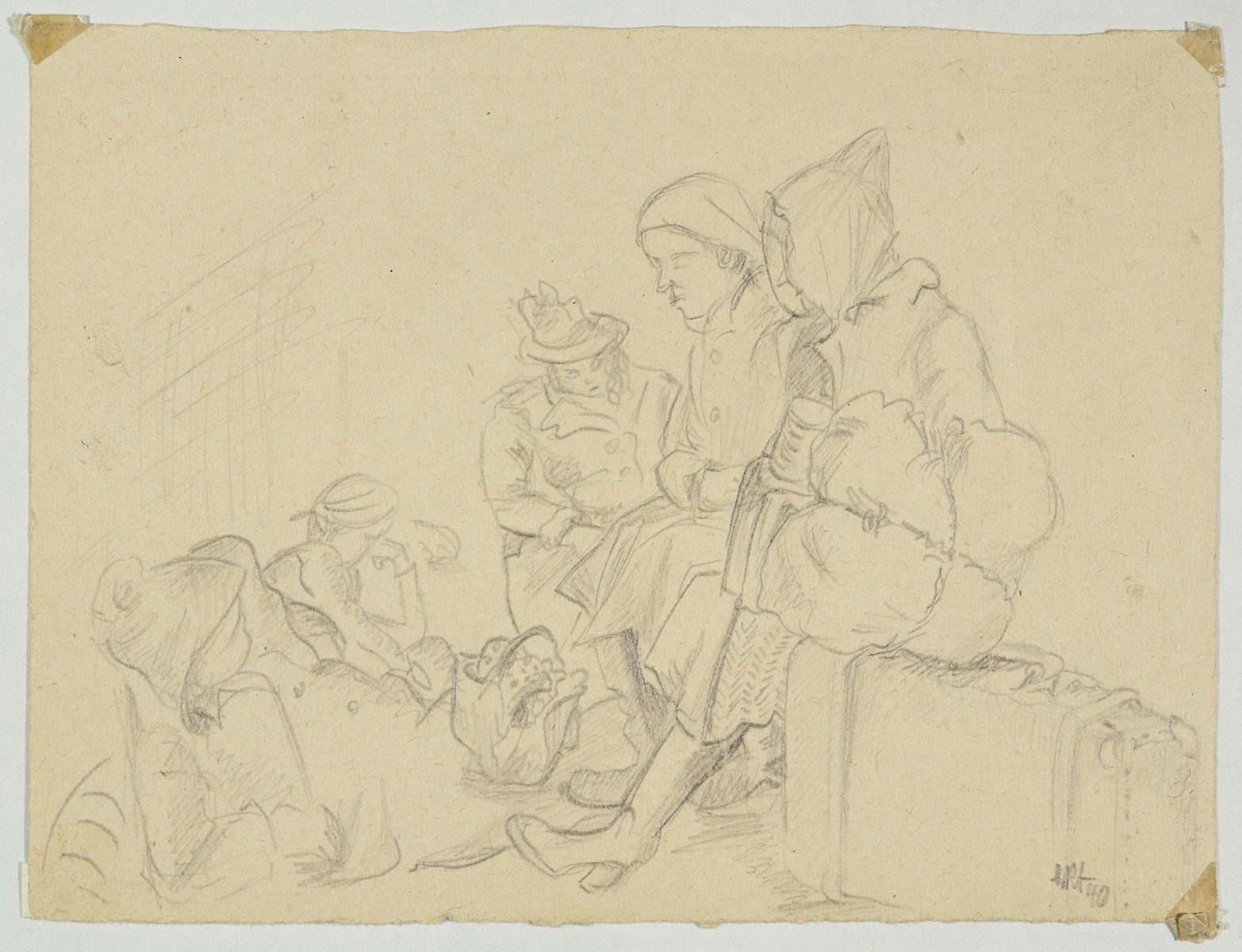 """""""Waiting for Deportation (Version I)"""" by Lili Andrieux.  Sketch of women sitting on suitcases and on the ground with bags and a basket."""
