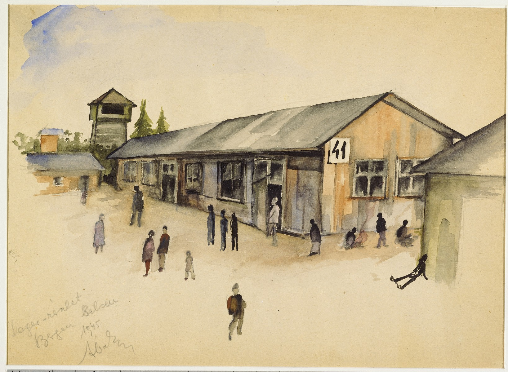 """Part of the Lager"" (Bergen Belsen) by Ervin Abadi. Watercolor, ink and colored graphite pencil drawing.  Ervin Abadi, a Hungarian Jew from Budapest, was an aspiring young artist when WWII began.  He was drafted into the Hungarian labor service in the early 1940s.  Abadi managed to escape, but  was recaptured and immediately deported to Bergen-Belsen.  When the camp was liberated, his condition was such that he required extended hospitalization.  During his convalescence, he created dozens of works of holocaust art, including ink drawings, pencil and ink sketches and  watercolors. After recuperating Abadi returned to Budapest, where he published a collection of his watercolors in 1946.  After becoming disillusioned with the communist regime in Hungary, he moved to Israel, where he continued to publish in Hungarian and Hebrew.  He died in Israel in 1980."