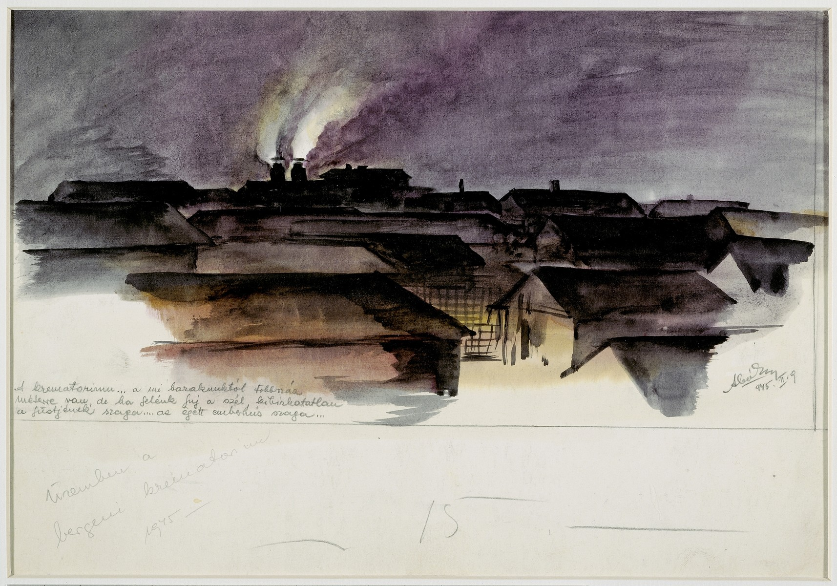 Holocaust art by Ervin Abadi. Watercolor.  Ervin Abadi, a Hungarian Jew from Budapest, was an aspiring young artist when WWII began.  He was drafted into the Hungarian labor service in the early 1940s.  Abadi managed to escape, but  was recaptured and immediately deported to Bergen-Belsen.  When the camp was liberated, his condition was such that he required extended hospitalization.  During his convalescence, he created dozens of works of holocaust art, including ink drawings, pencil and ink sketches and  watercolors. After recuperating Abadi returned to Budapest, where he published a collection of his watercolors in 1946.  After becoming disillusioned with the communist regime in Hungary, he moved to Israel, where he continued to publish in Hungarian and Hebrew.  He died in Israel in 1980.