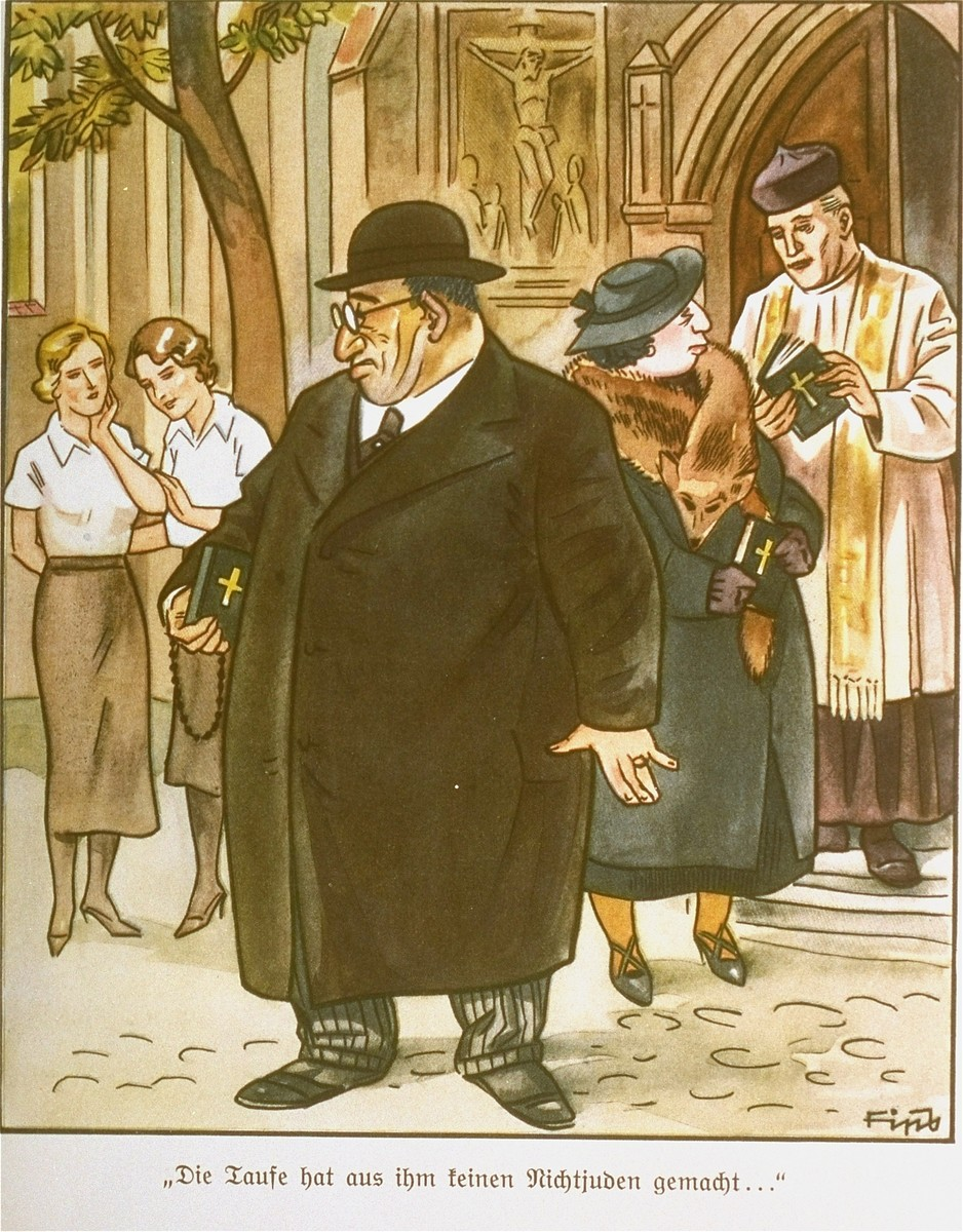 """Page from the anti-Semitic German children's book, """"Der Giftpilz"""" ( The Poisonous Mushroom).  The text reads, """"Baptism didn't make him into a non-Jew..."""""""