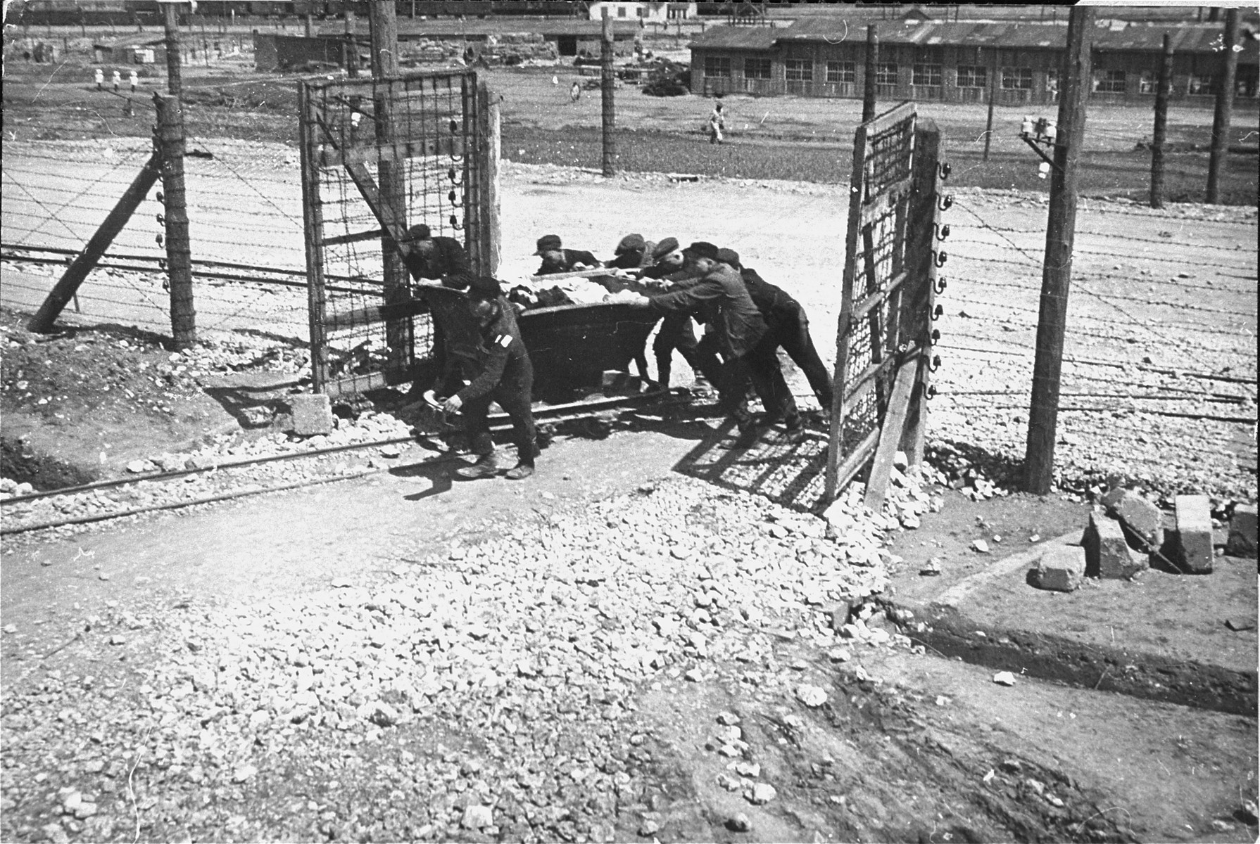 Jewish prisoners in Plaszow at forced labor.