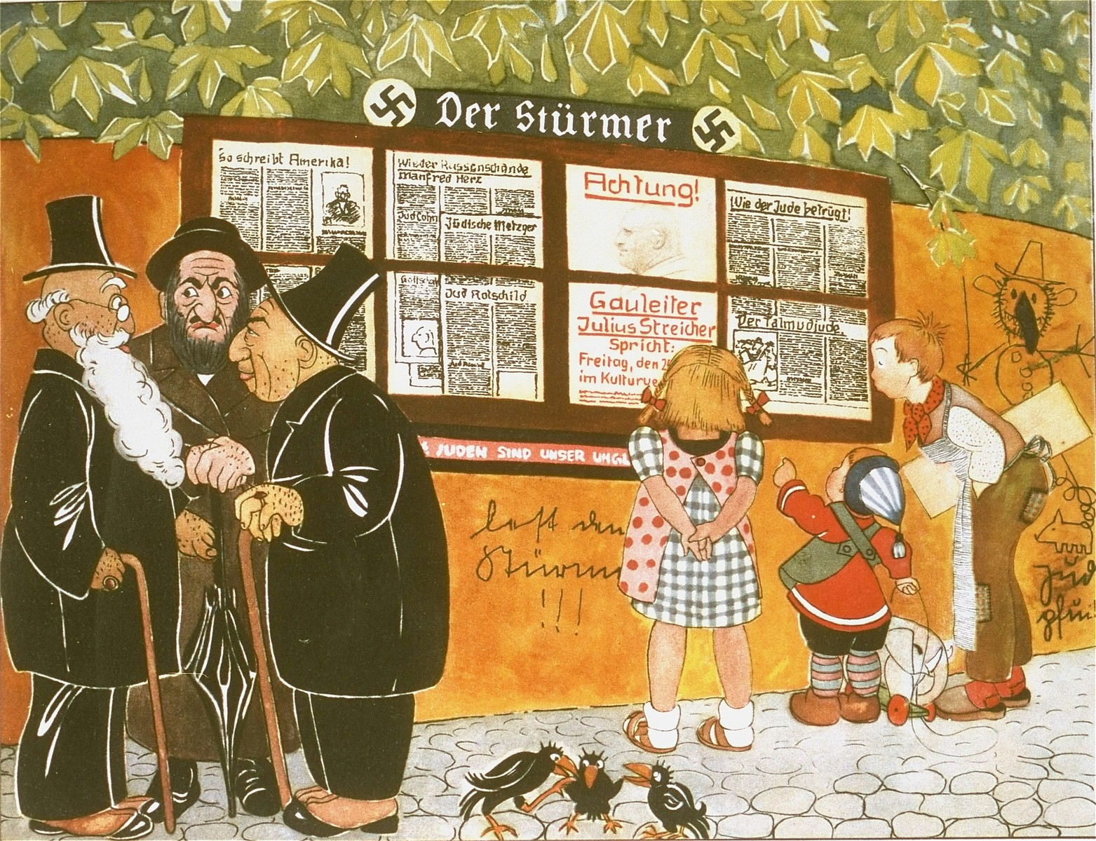 "Page from the anti-Semitic German children's book, ""Trau Keinem Fuchs..."" (Trust No Fox in the Green Meadow and No Jew on his Oath)"