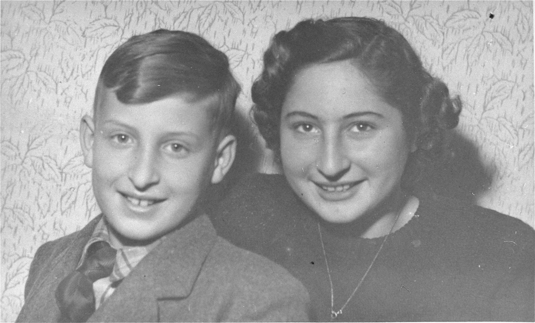 Portrait of the Jewish siblings Gyury and Hedy Brody in Budapest, Hungary.   Gyury and Hedy were saved when their mother Ilmy removed them from the deportation line.  Their mother survived as well, but committed suicide several years after the war.  Their father was killed during the war.