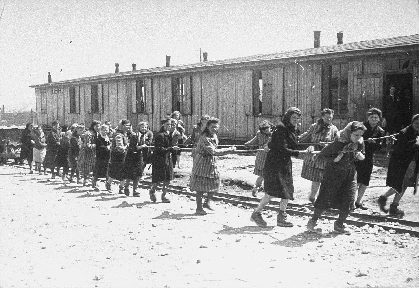 "Jewish women at forced labor on ""Industry Street"" in the Plaszow concentration camp."
