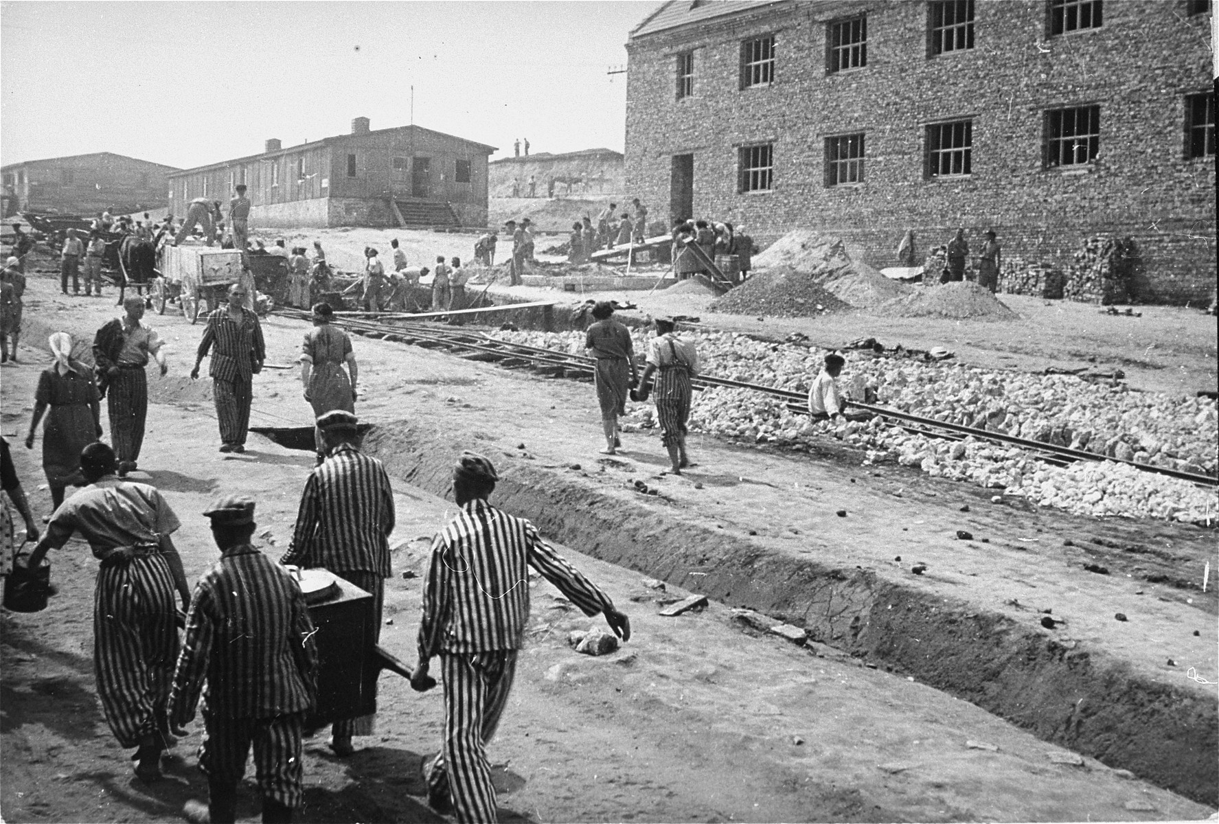 Four prisoners in the foreground carry a food container to others at forced labor.