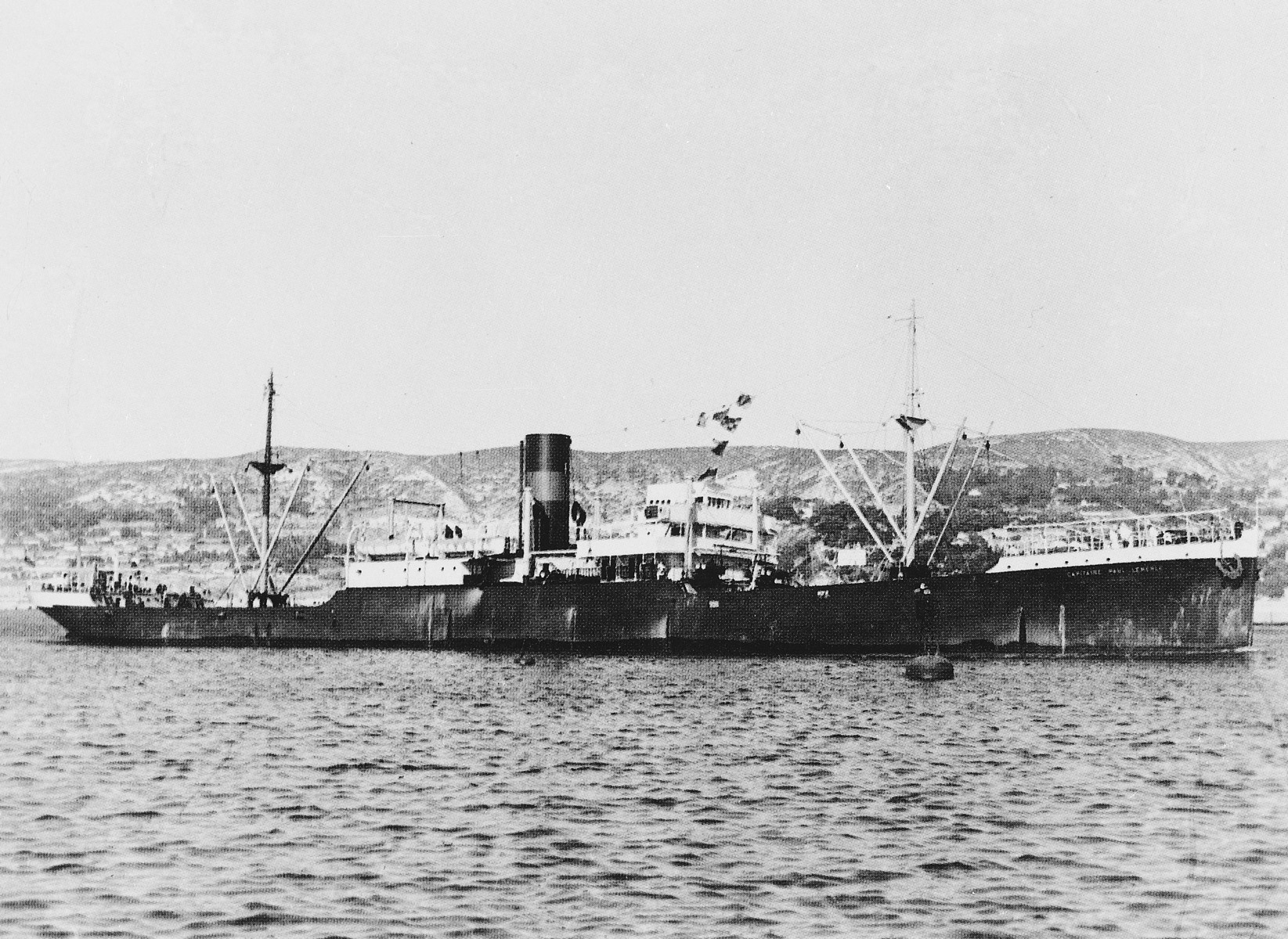 View of the Capitaine Paul-Lemerle, a converted cargo ship that sailed from Marseilles to Martinique with European refugees sponsored by Varian Fry's Centre Americain de Secours.