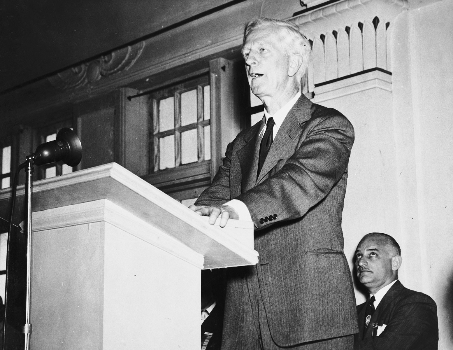 James G. McDonald delivers an address in Atlantic City, New Jersey.