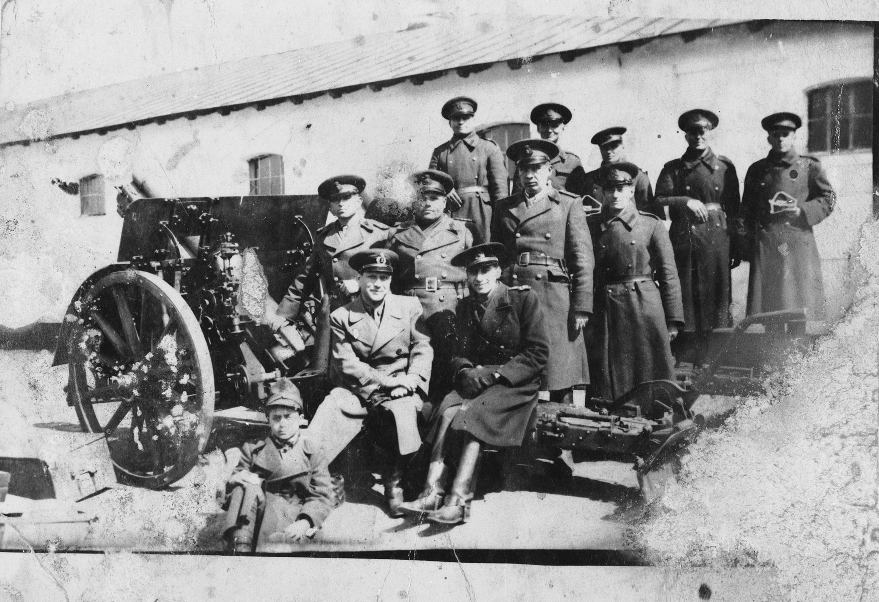 An artillery unit of the Romanian army.  Pictured on the far right of the center row is a Jewish soldier, Henrich (Anica) Brener.
