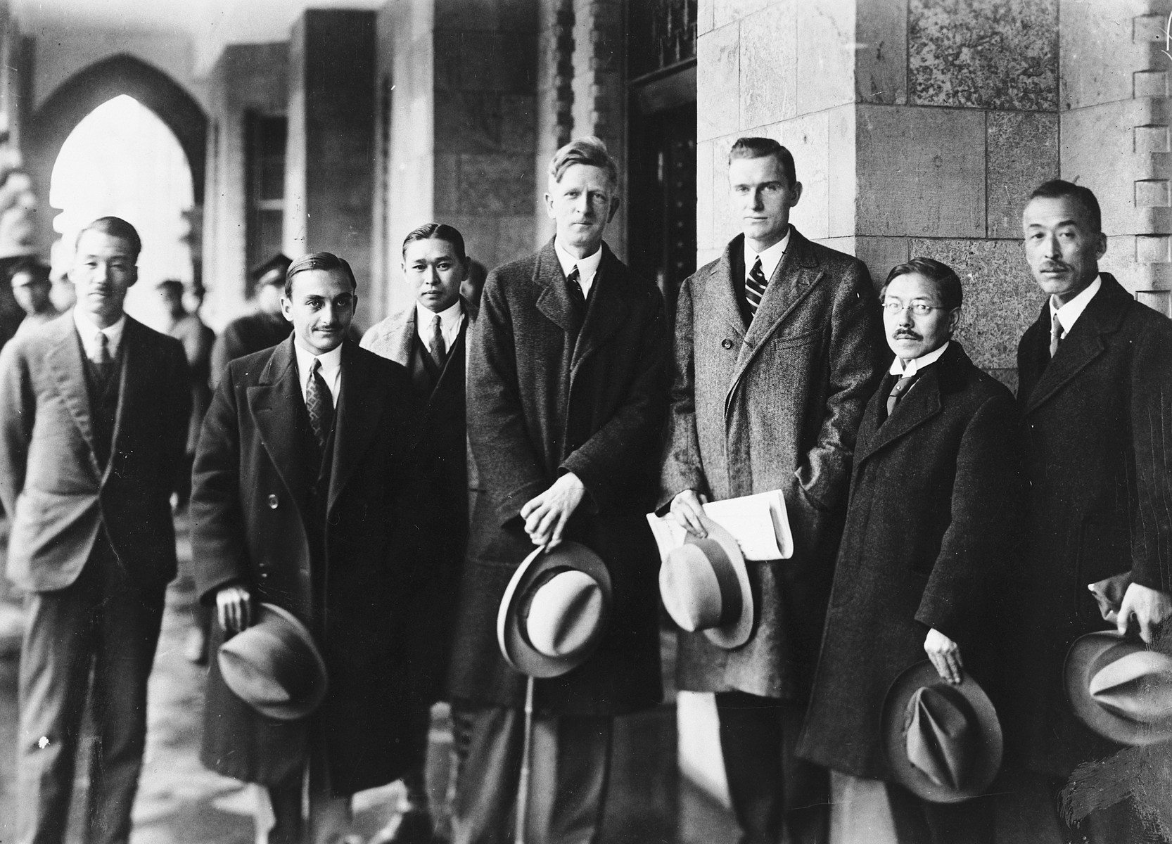 Group portrait of delegates to the Institute of Pacific Relations conference in Kyoto, Japan.  Among those pictured are James G. McDonald (fourth from the right) and John D. Rockefeller III (third from right).
