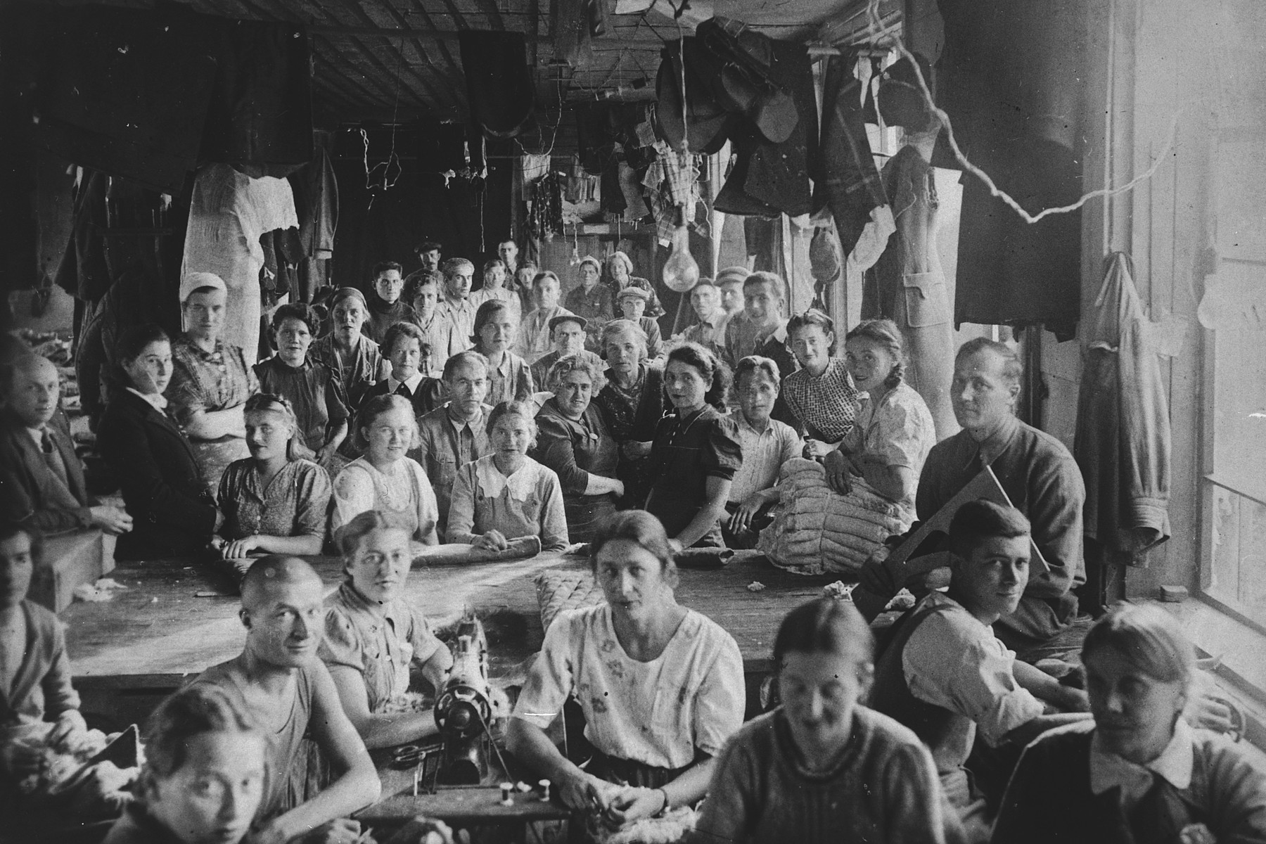 Polish exiles in a sewing workshop, Kniazhpogost, the Komi Autonomous Republic.