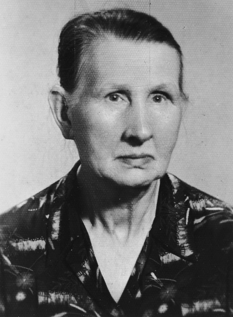 Close-up portrait of Polish rescuer, Jula Jurek.