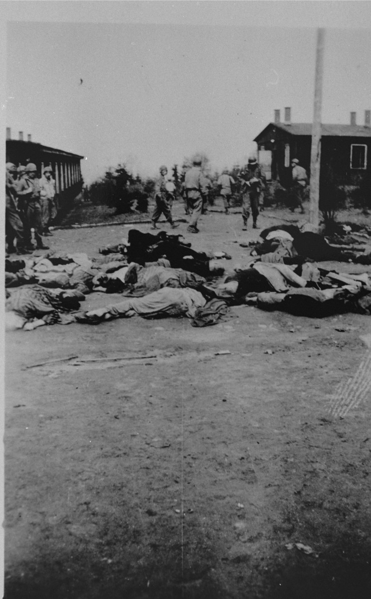 American soldiers walk past the bodies of prisoners shot by the SS during the evacuation of the Ohrdruf concentration camp.