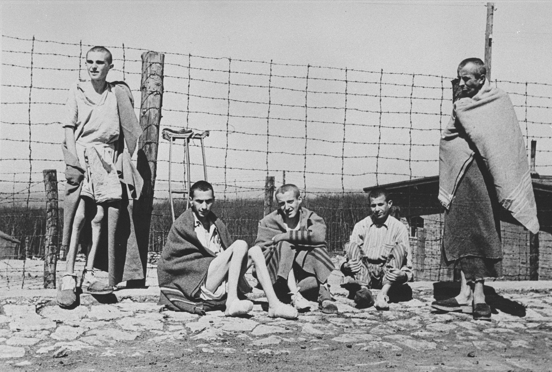 A group of young survivors in Buchenwald.