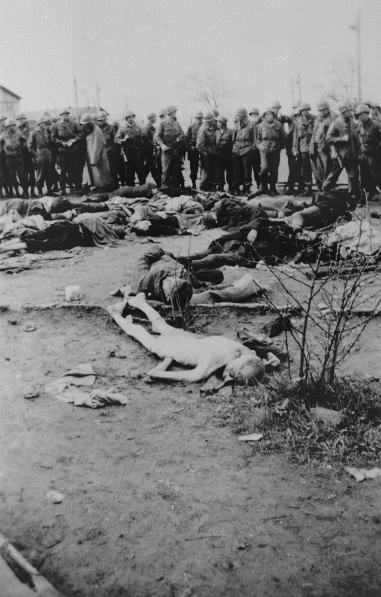 American soldiers view the bodies of prisoners shot by the SS during the liberation of the camp.