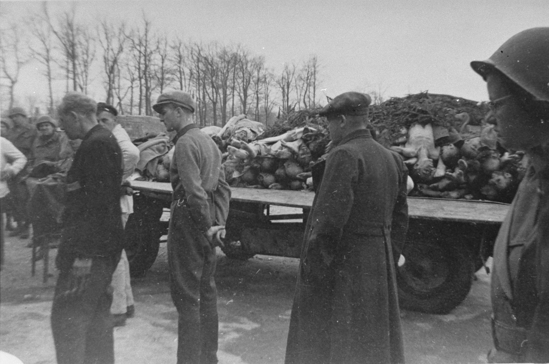 German civilians, who have been forced to tour the newly liberated Buchenwald concentration camp, view a flatbed truck piled with corpses.