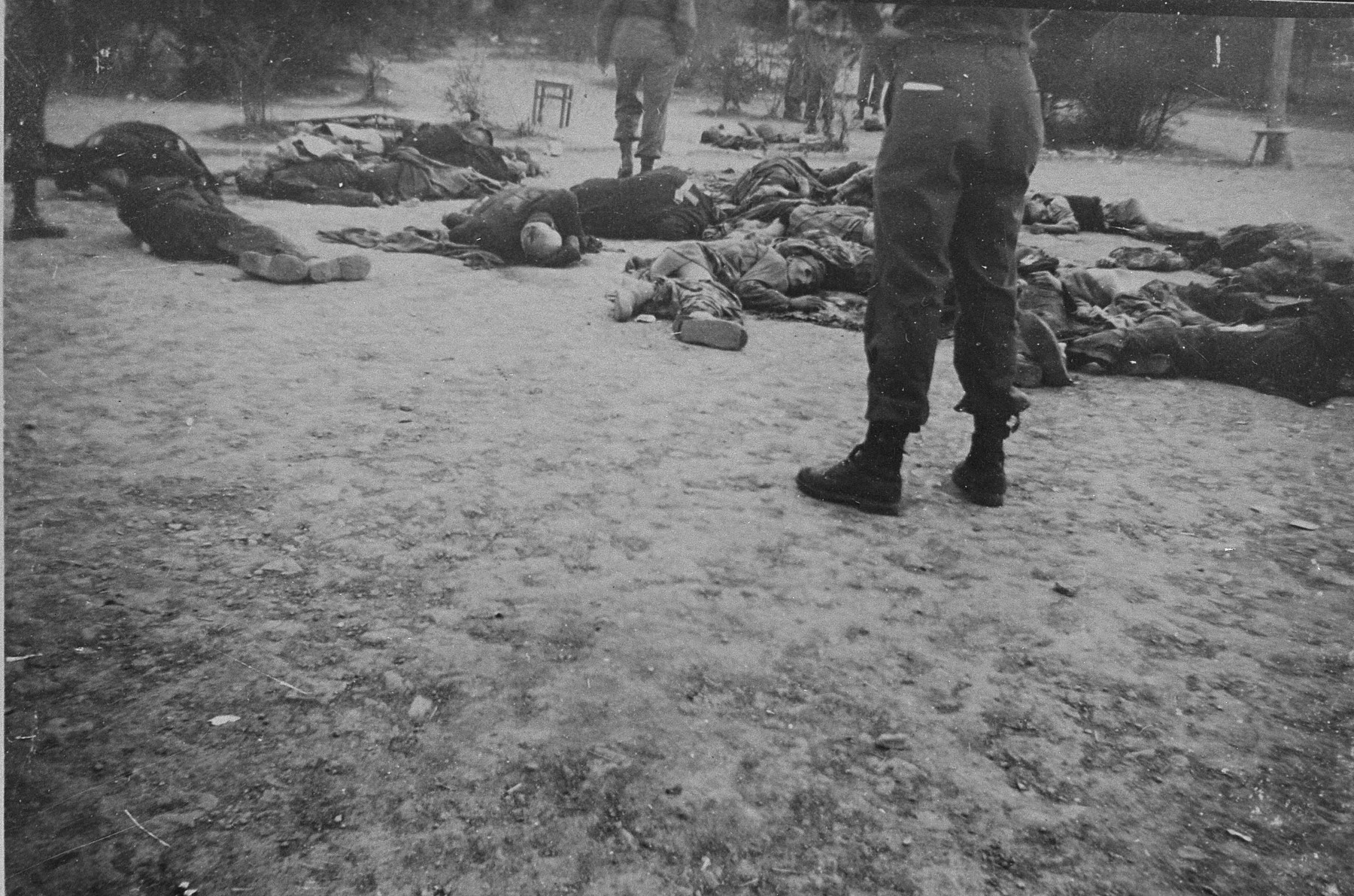 The corpses of executed prisoners found by American soldiers upon the liberation of Ohrdruf.