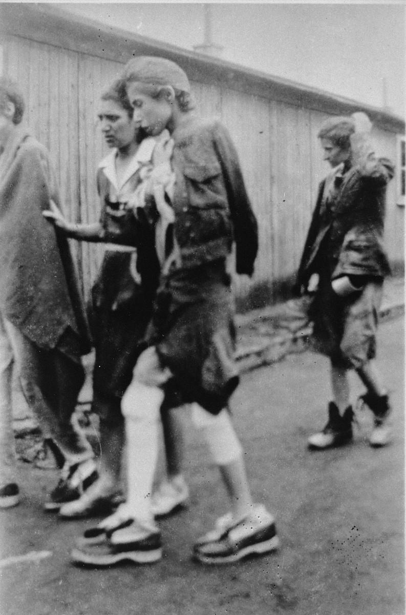 Women survivors in Buchenwald after liberation.