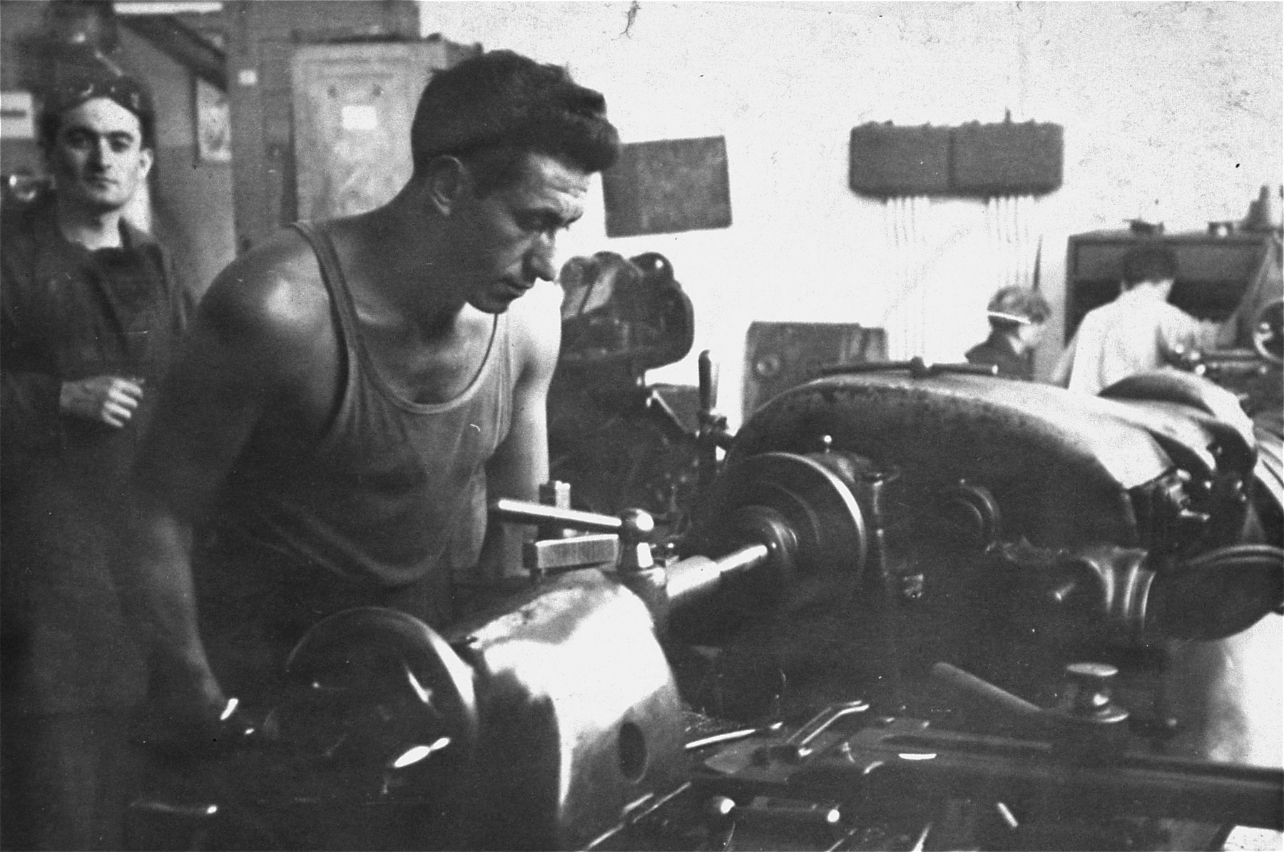 Emil Herskowicz trains at an ORT machine repair shop in the Landsberg displaced persons camp.