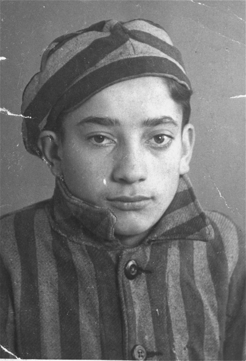 Portrait of the donor, Alexander Feuer, in his former concentration camp uniform.