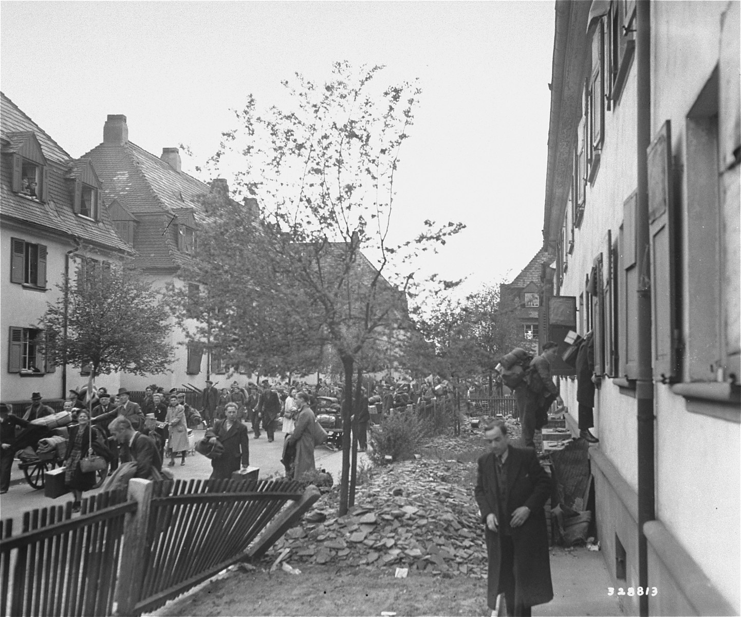 German residents of Mannheim are expelled from their homes to make room for displaced persons, when the existing DP camp proved inadequate to accomodate the thousands of prisoners being liberated by advancing Allied troops.