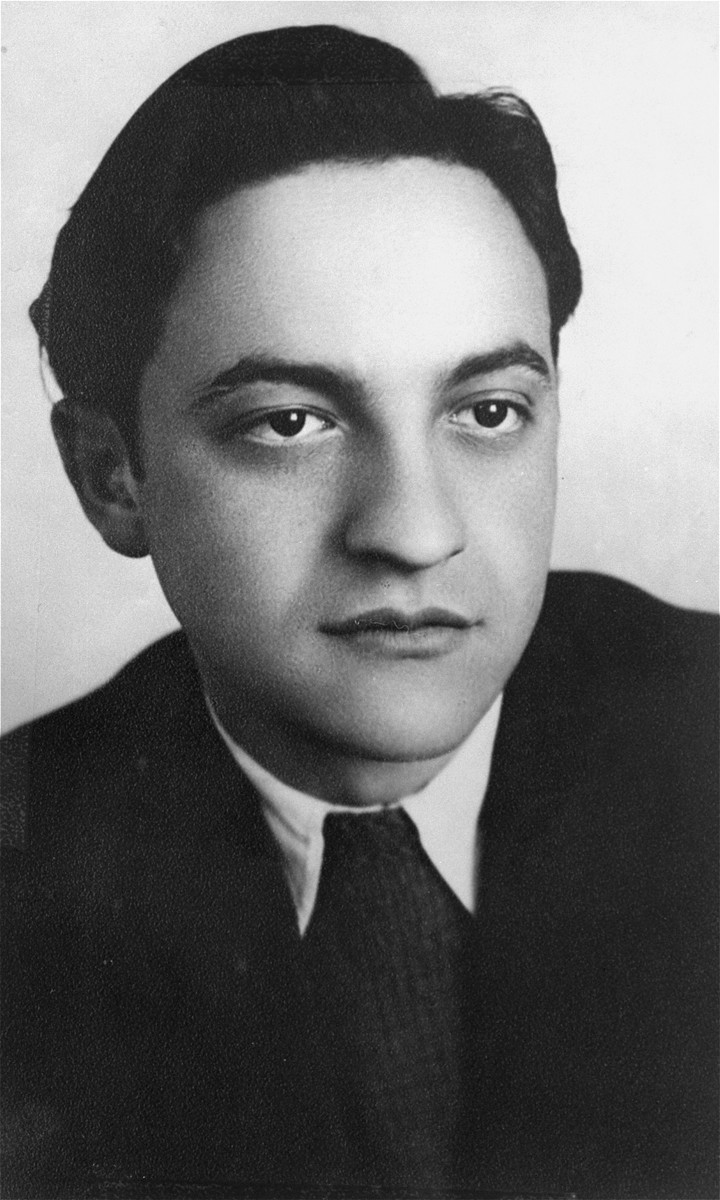 Studio portrait of Solly Ganor in the Landsberg displaced persons camp.