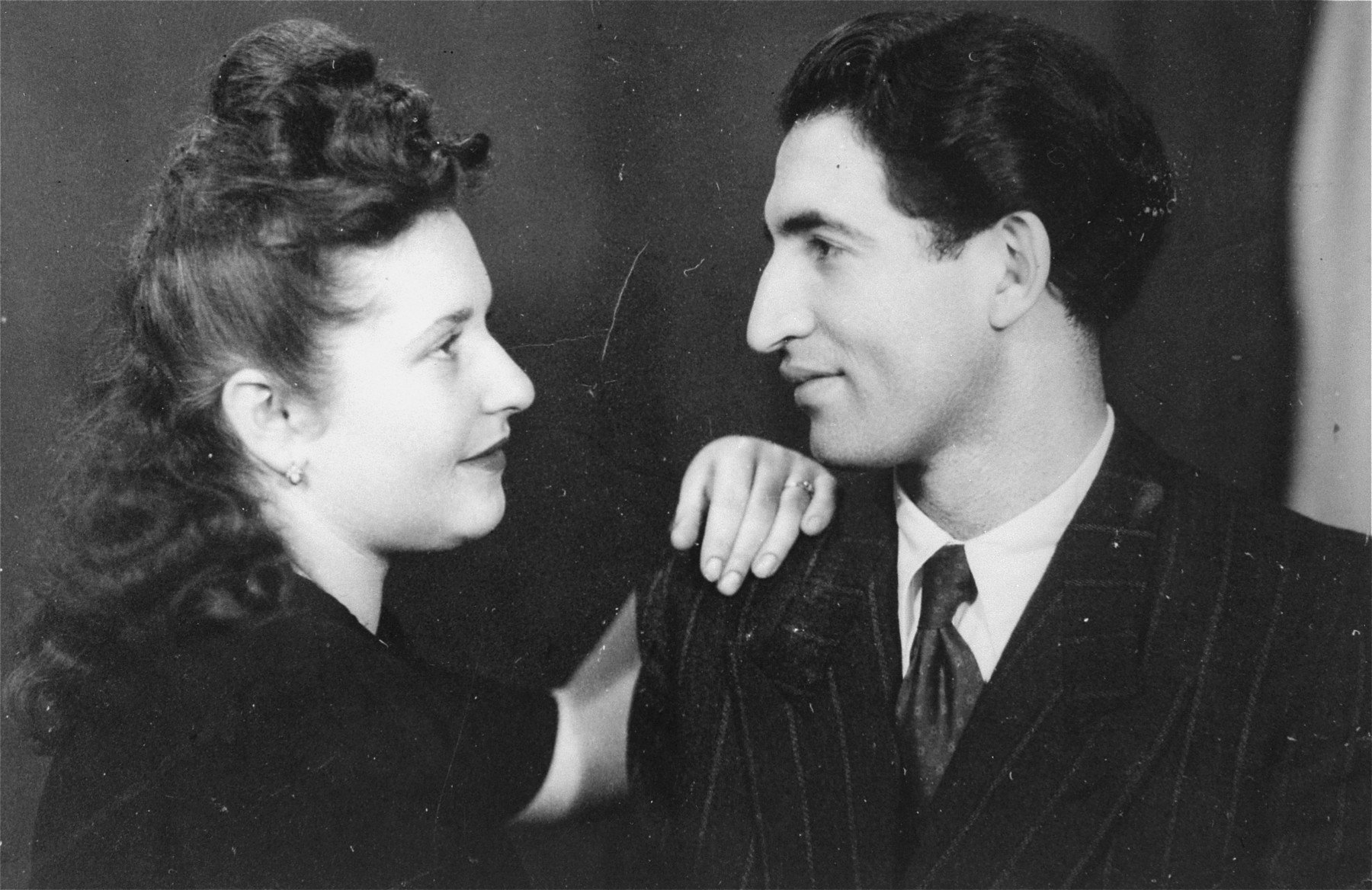 Studio portrait of Morris and Lusia (Glicklich) Breitbart, soon after their wedding at the Rosenheim displaced persons camp near Munich.