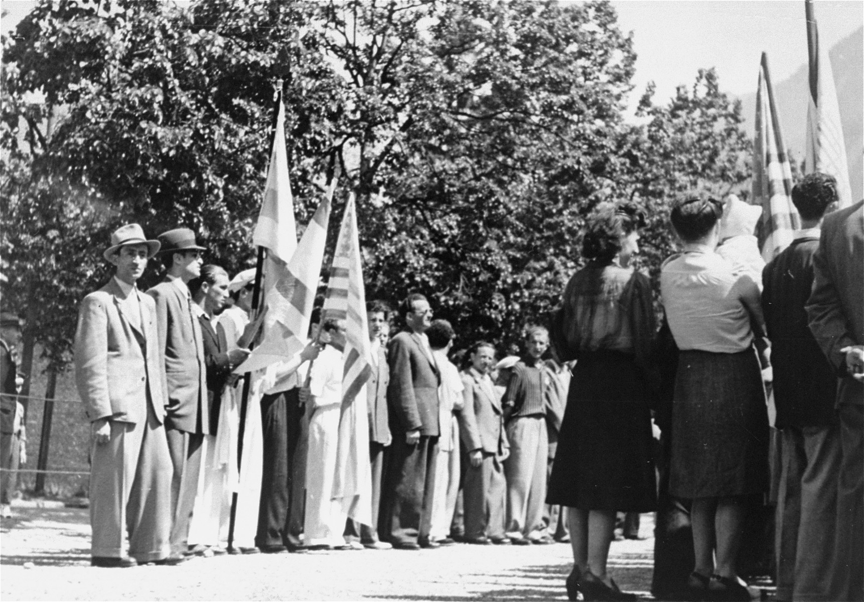 Jewish DPs commemorate the death march from Dachau to Tyrol as they hold a protest against British immigration policy to Palestine at the Mittenwald displaced persons camp.