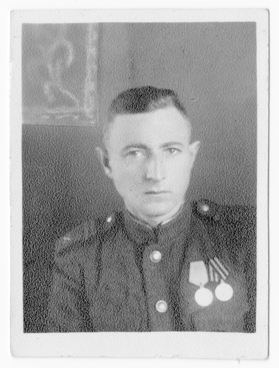 Postwar portrait of Boris Tenin in his Soviet Army uniform.