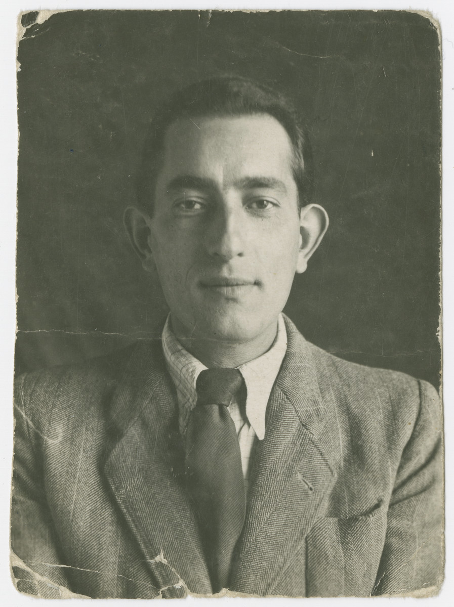 "A portrait of Henek Appel taken in the Soviet Union and sent to his brother Zelig after the war.  The original caption reads: ""To my brother as a memento of years of separation, Heniek, Bielawa, July 25, 1946."""
