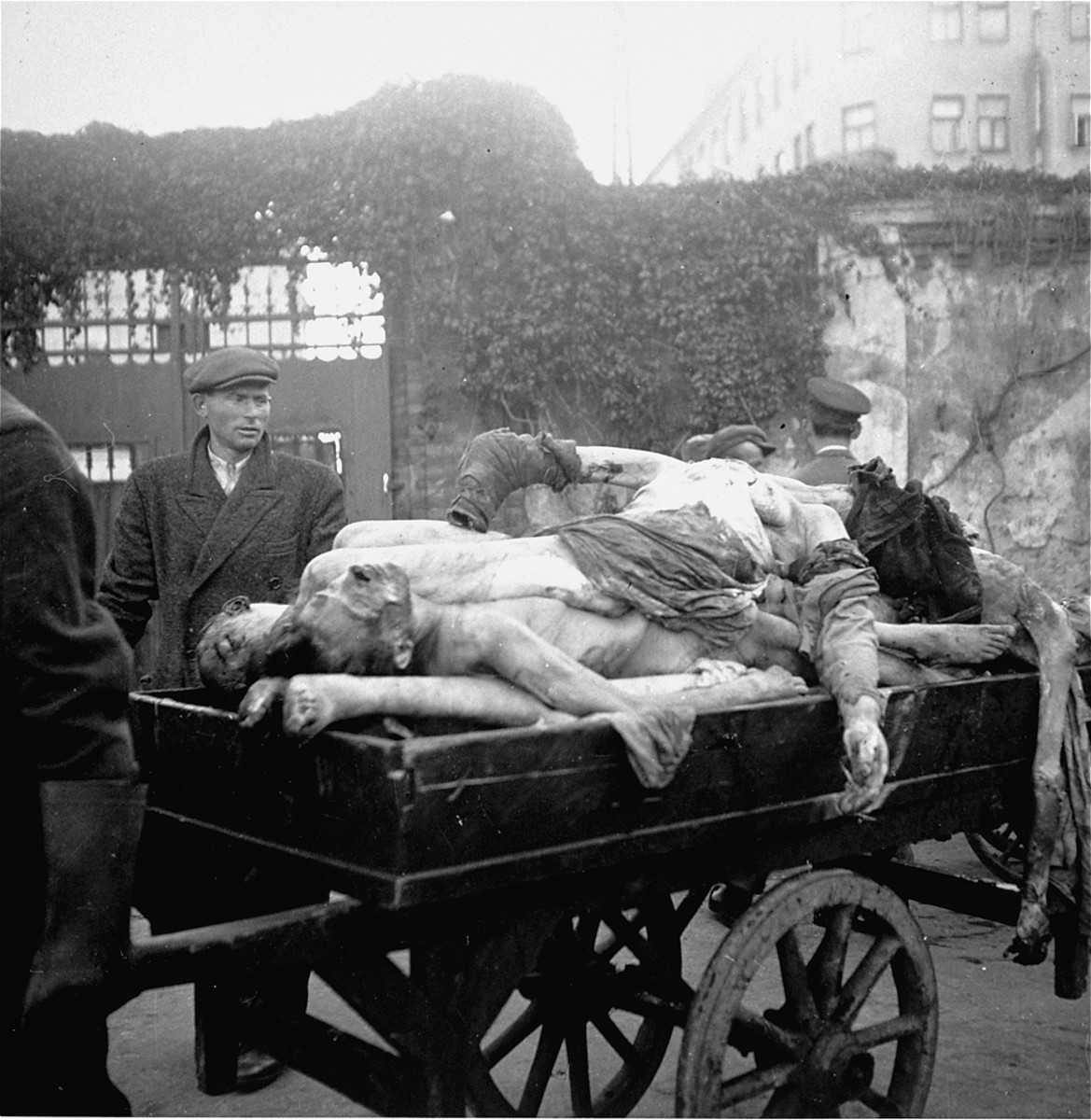 """An undertaker pulls a cart laden with corpses into the Jewish cemetery on Okopowa Street for burial in a mass grave.    Joest's caption reads: """"The arms of the dead hanging over the side of the body cart moved by themselves.  It was an eerie sight.  In the background is the entrance to the Jewish cemetery."""""""