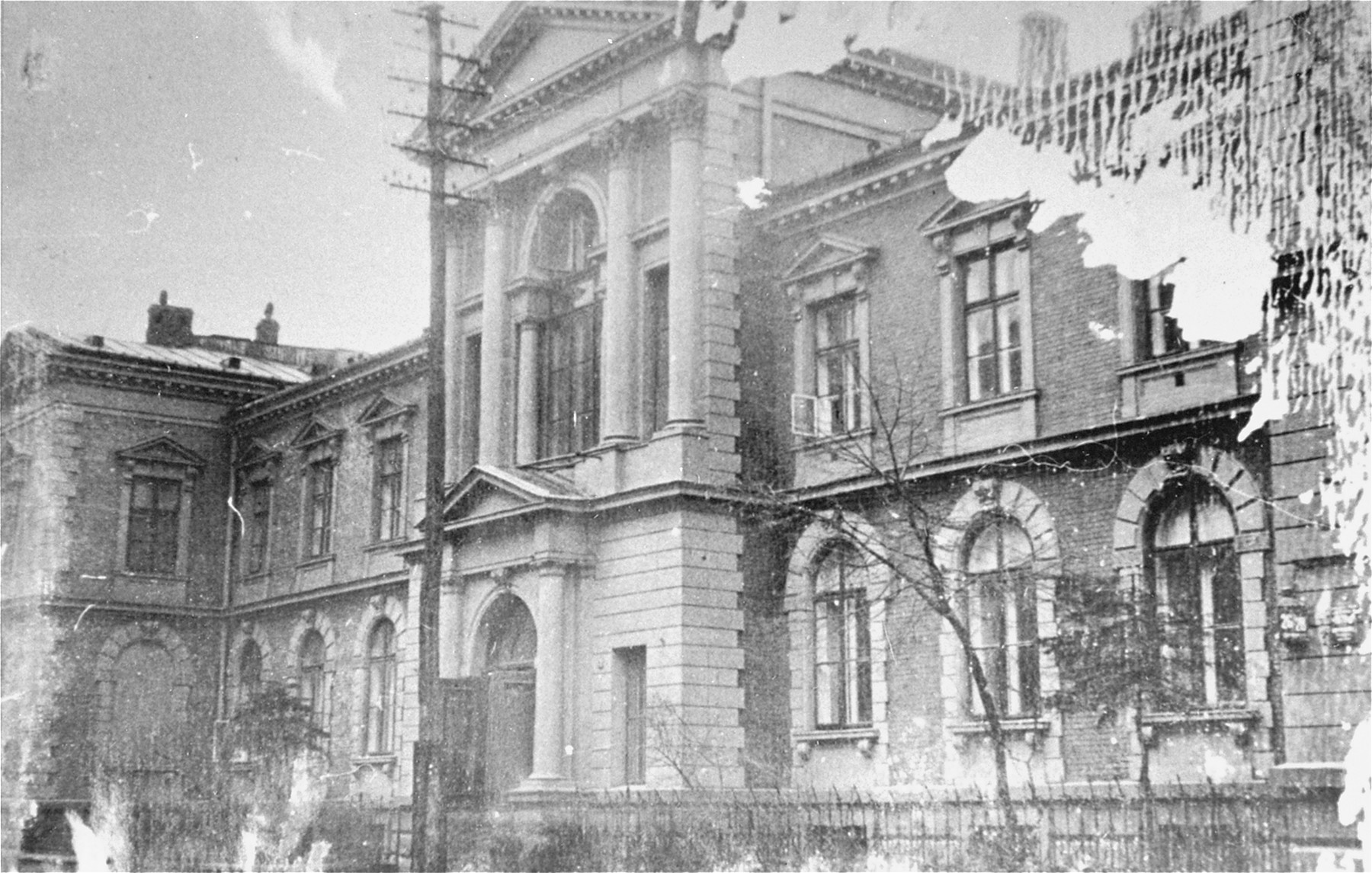 Exterior of the Jewish Community building, headquarters of the Warsaw Jewish Council, on 20 Grzybowska Street.