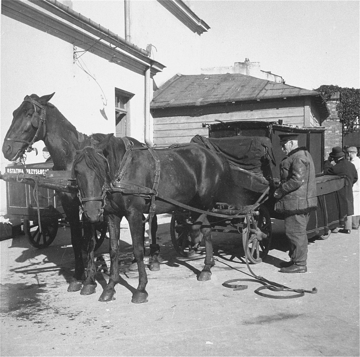 An undertaker from the Pinkiert funeral home adjusts the harness on his horse before leading a funeral procession.