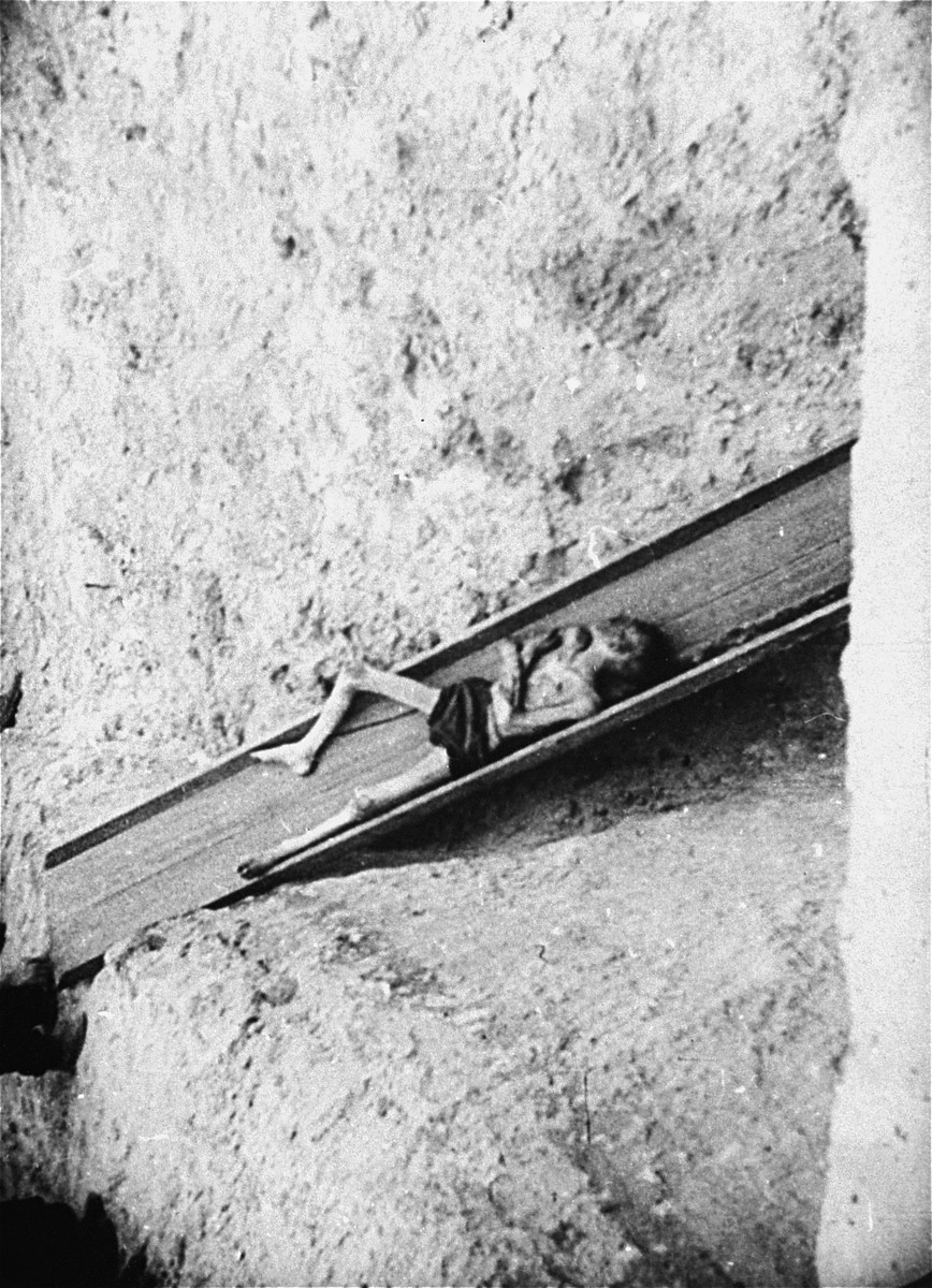 A corpse slides down a shoot into a mass grave in the Warsaw ghetto.