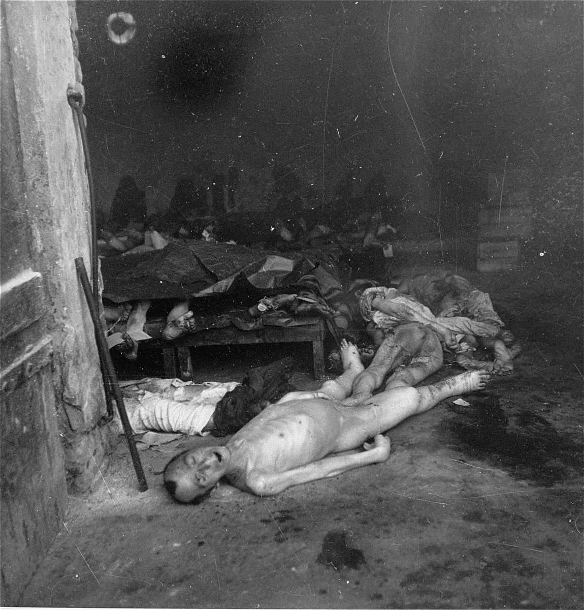 "Bodies in the morgue of the Jewish cemetery on Okopowa Street in the Warsaw ghetto.    Joest's caption reads: ""In this morgue there were flecks of blood on the floor and many of the corpses were splashed with blood.  In the dark, however, I could not tell if there was evidence of shooting."""