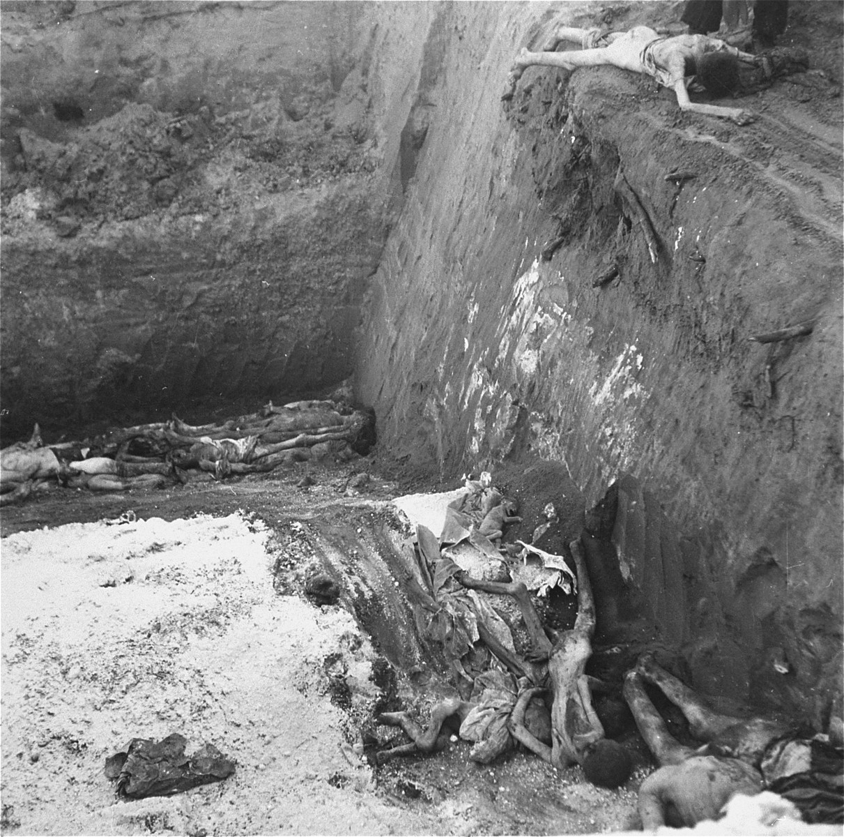 "Corpses at the bottom of a mass grave in the Okopowa Street cemetery.    Joest's caption reads: ""Between all of the bodies of adults thrown into the grave, lay also [that of] a small dead child."""