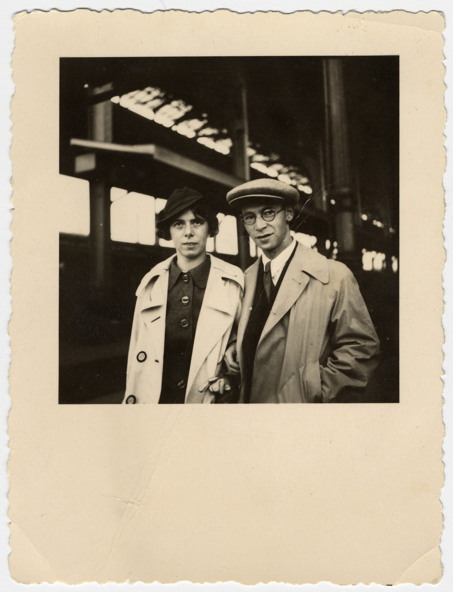 Walter and Paula (nee Kalberman) Kahn pose in the Mannheim train station.  They later moved to Israel.
