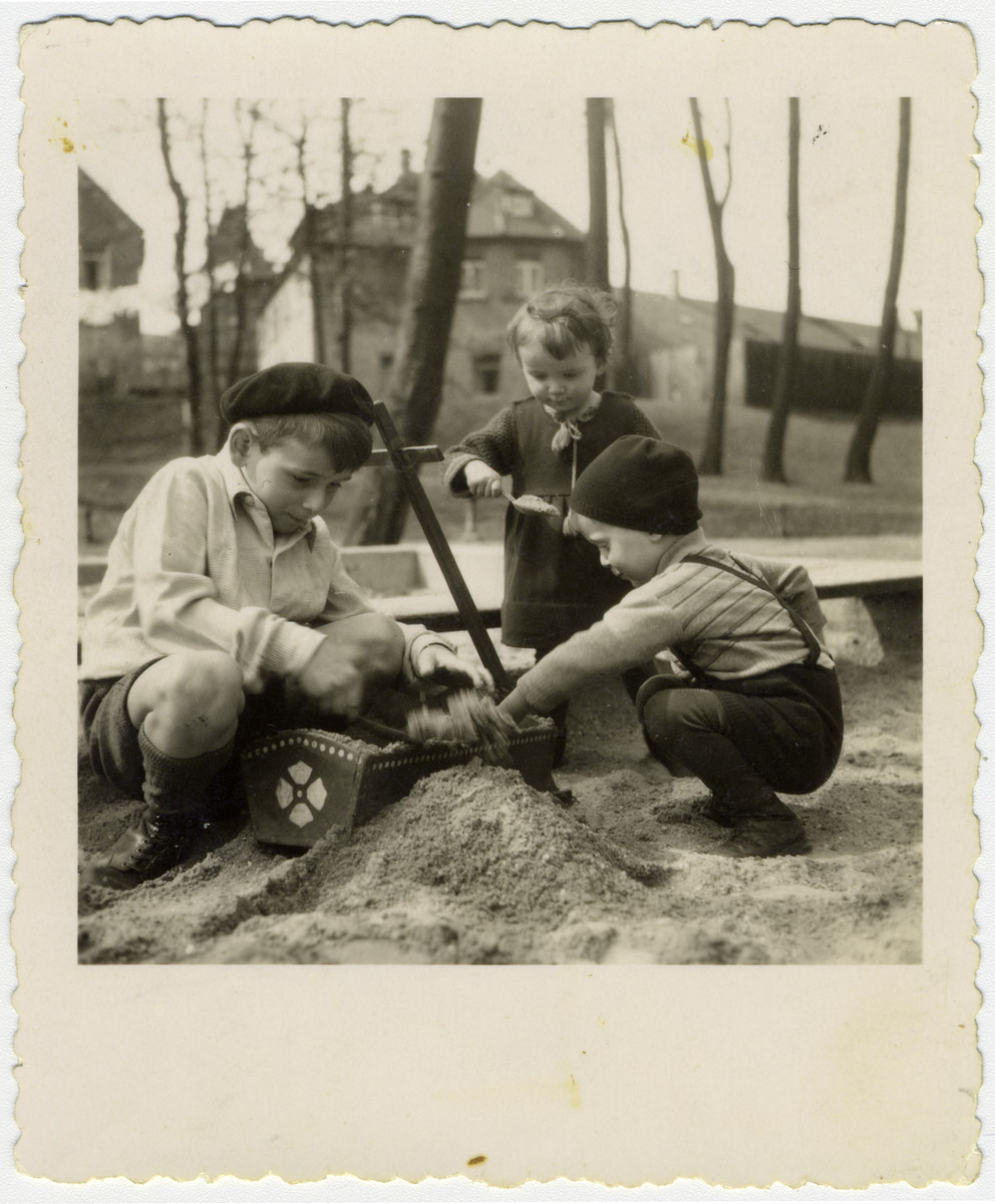 Max, Josef and Ruth Kalberman play in a sandbox.  The are first cousins of the donor.  All three survived and came to Israel.  .