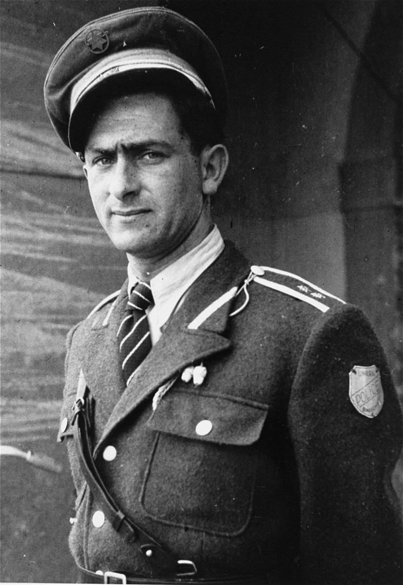 Portrait of Willie Sterner, the police chief of the Bindermichl displaced persons camp.