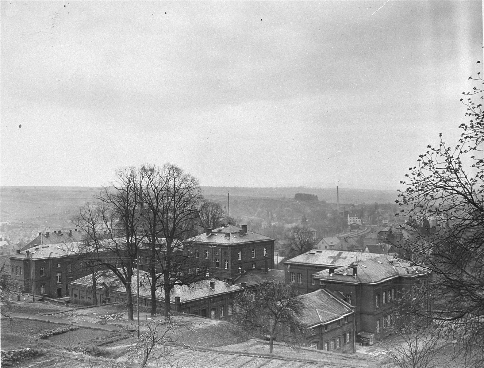 View of the Hadamar Institute,   The photograph was taken by an American military photographer soon after the liberation.