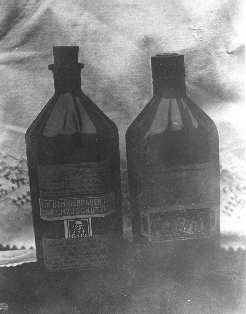 Bottles of morphine solution found by war crimes investigators at the Hadamar Instutute.    The photograph was taken by an American military photographer soon after the liberation.
