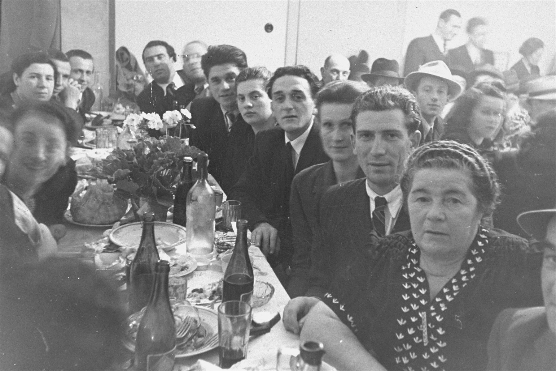 A Jewish wedding celebration in the Ebelsberg DP camp in Linz, Austria.